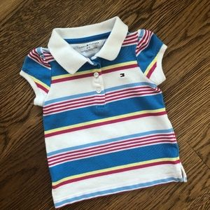 Tommy Hilfiger Baby Girls 18M Striped Polo Shirt